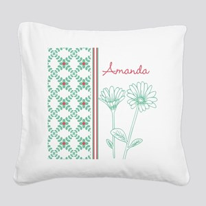Decorative Floral Pattern Square Canvas Pillow