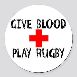 Give Blood, Play Rugby Round Car Magnet