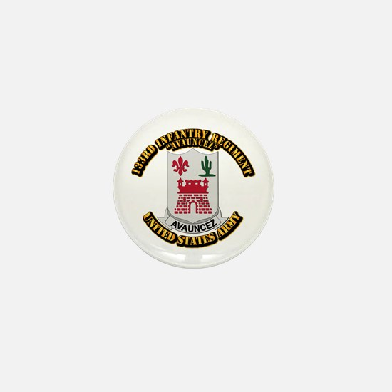 DUI - 133rd Infantry Regt w Text Mini Button