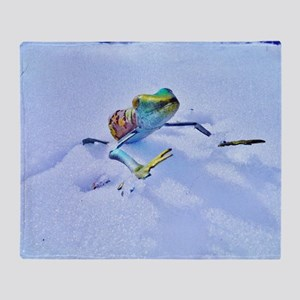 Colorful Frog jumping in Snow Throw Blanket