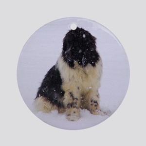 Snowy Landseer Ornament (Round)