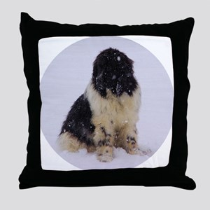 Snowy Landseer Throw Pillow