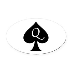Queen Of Spades Oval Car Magnet
