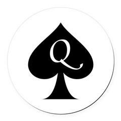 Queen Of Spades Round Car Magnet