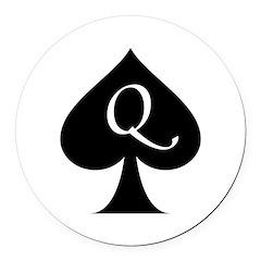 Queen Of Spades Round Car Magnet