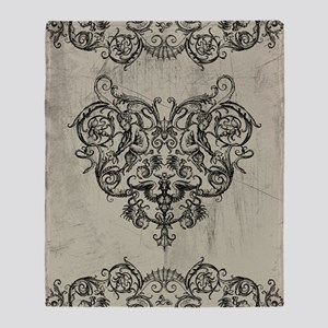 Grotesque Ornament Heart Throw Blanket
