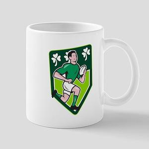 Irish Rugby Player Running Ball Shield Cartoon Mug