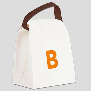 Letter B Orange Canvas Lunch Bag
