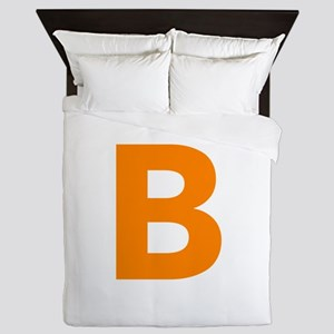 Letter B Orange Queen Duvet