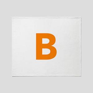 Letter B Orange Throw Blanket