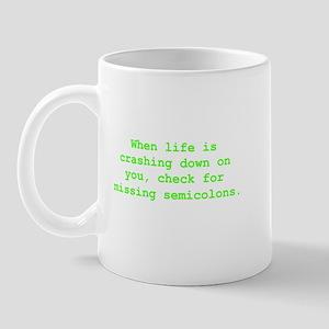 Check for missing semicolons Mug