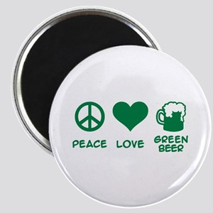 Peace love green beer Magnet