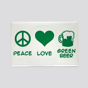 Peace love green beer Rectangle Magnet