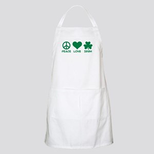 Peace love irish shamrock Apron