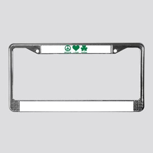 Peace love irish shamrock License Plate Frame