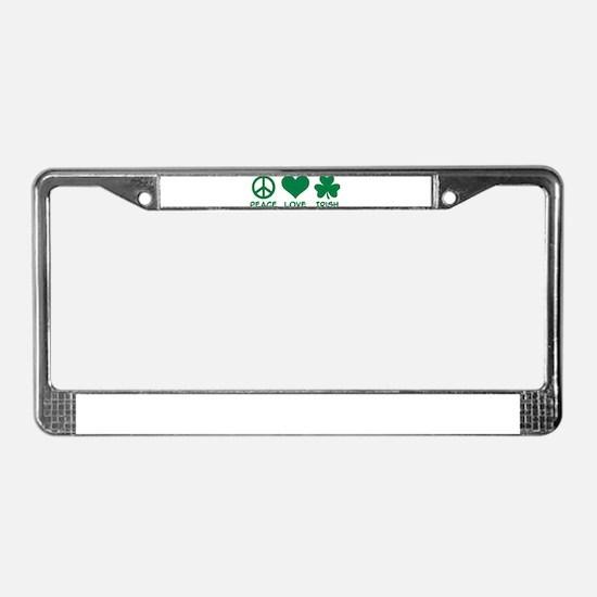 Peace love irish shamrock License Plate Frame