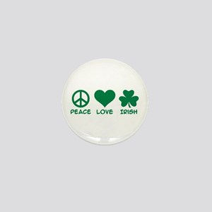 Peace love irish shamrock Mini Button