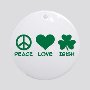 Peace love irish shamrock Ornament (Round)