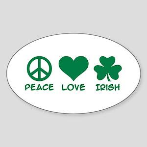 Peace love irish shamrock Sticker (Oval)