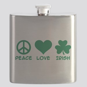 Peace love irish shamrock Flask