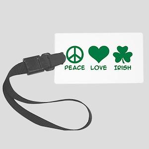 Peace love irish shamrock Large Luggage Tag