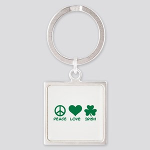 Peace love irish shamrock Square Keychain