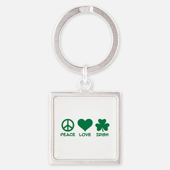 Peace love irish shamrock Square Keychain