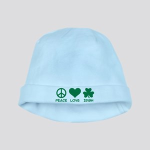 Peace love irish shamrock baby hat