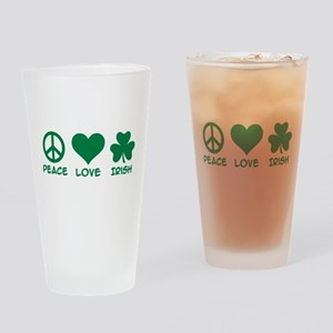 Peace love irish shamrock Drinking Glass
