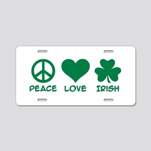 Peace love irish shamrock Aluminum License Plate