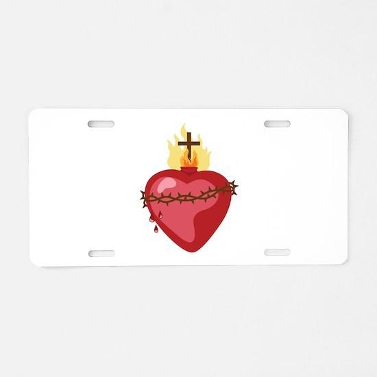 Sacred Heart Aluminum License Plate