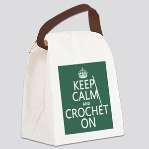 Keep Calm and Crochet On Canvas Lunch Bag