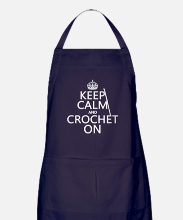 Keep Calm and Crochet On Apron (dark)