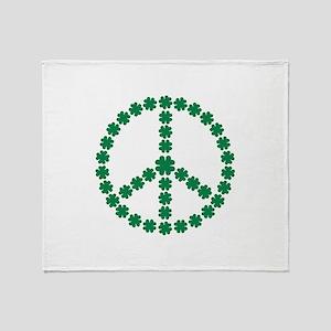 Irish shamrock peace Throw Blanket