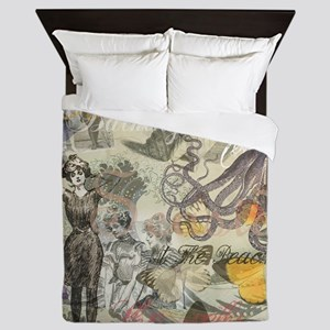 Vintage Octopus and Bathing Beauties Queen Duvet