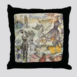 Vintage Octopus and Bathing Beauties Throw Pillow