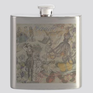 Vintage Octopus and Bathing Beauties Flask