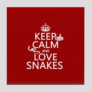 Keep Calm and Love Snakes Tile Coaster