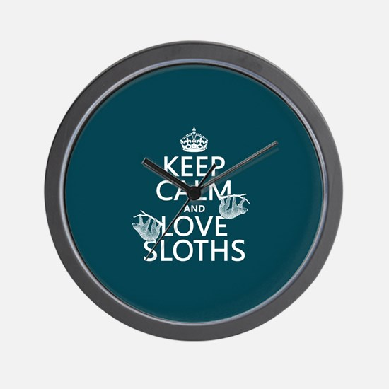 Keep Calm and Love Sloths Wall Clock