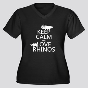 Keep Calm and Love Rhinos Plus Size T-Shirt