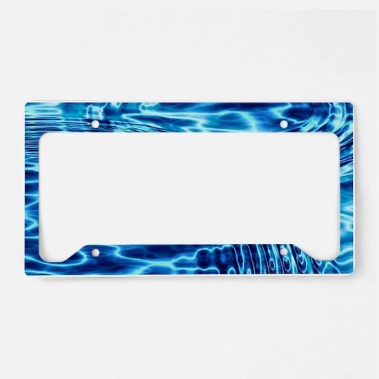 Blue Liquid Art License Plate Holder