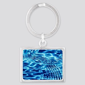 Blue Liquid Art Landscape Keychain