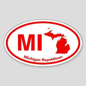 Michigan RED STATE Oval Sticker