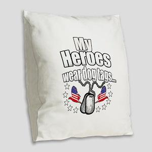 my heroes wear Burlap Throw Pillow