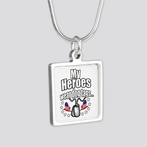 my heroes wear Silver Square Necklace