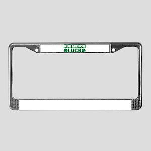 Rub me for luck shamrock License Plate Frame