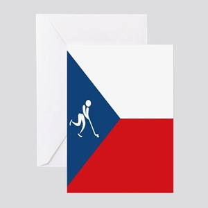 Team Ice Hockey Czech Re Greeting Cards (Pk of 10)