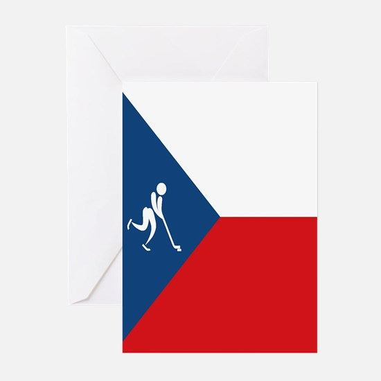 Team Ice Hockey Czech Re Greeting Cards (Pk of 10)