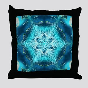 teal peacock snowflake abstract art Throw Pillow
