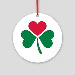 Shamrock red heart Ornament (Round)